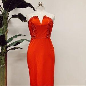 Gianni Bini Red Strapless Midi Dress